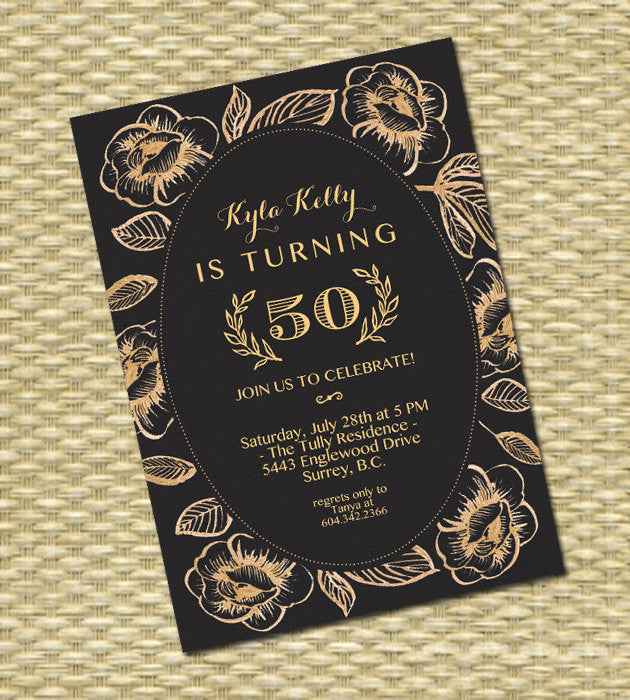 50th Birthday Invitation Adult Birthday Milestone Birthday Invitation Black Gold Floral Damask Photo Card or No Photo 30th Invite, ANY EVENT
