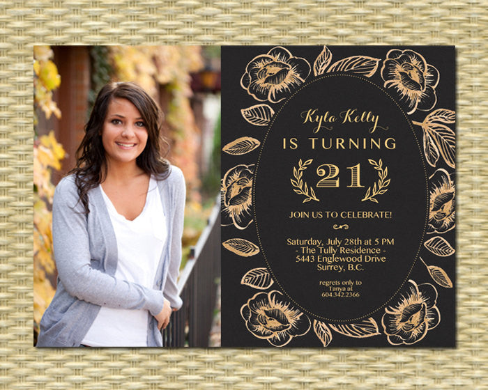 50th Birthday Invitation Adult Milestone Birthday Black Gold Glitter Floral Anniversary Graduation Photo Invitation, Any Event