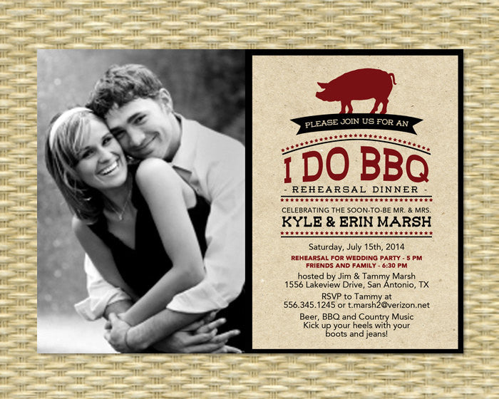Rustic I Do BBQ Rehearsal Dinner Kraft Invitation with Photo Engagement Party BBQ Invite with Photo Pig Roast, Any Event, Any Colors