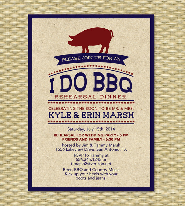 Rustic I Do BBQ Rehearsal Dinner Invitation Kraft Engagement Party Pig Roast Wedding Shower Invite Any Color Scheme Event