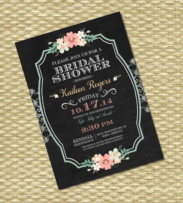 Chalkboard Bridal Shower Invitation Vintage Lace Chalkboard Floral Typography Mint Coral Peach Bridal Brunch Bridal Tea, ANY EVENT