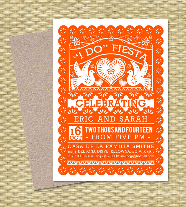 I Do FIESTA Invitation Papel Picado Fiesta Couples Shower Engagement Party Rehearsal Dinner Any Event ANY COLORS