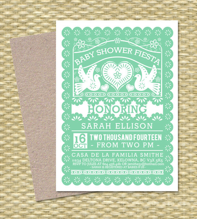 Baby Shower Invitation FIESTA Gender Neutral Baby Shower Papel Picado Fiesta Baby Sprinkle Diapers and Wipes, Any Event, ANY COLORS