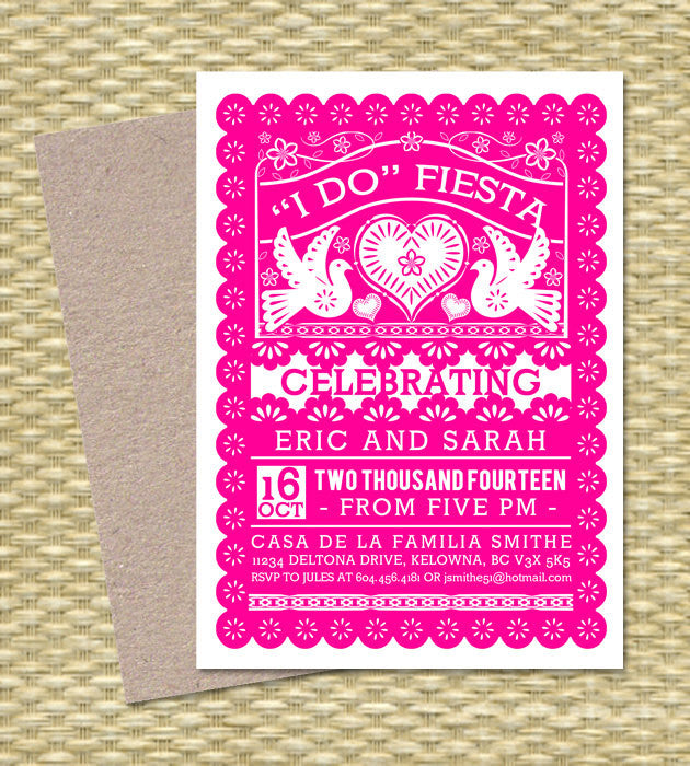 Papel Picado I Do FIESTA Invitation Couples Shower Fiesta Engagement Party Fiesta Invitation Rehearsal Dinner, Any Event, ANY COLORS