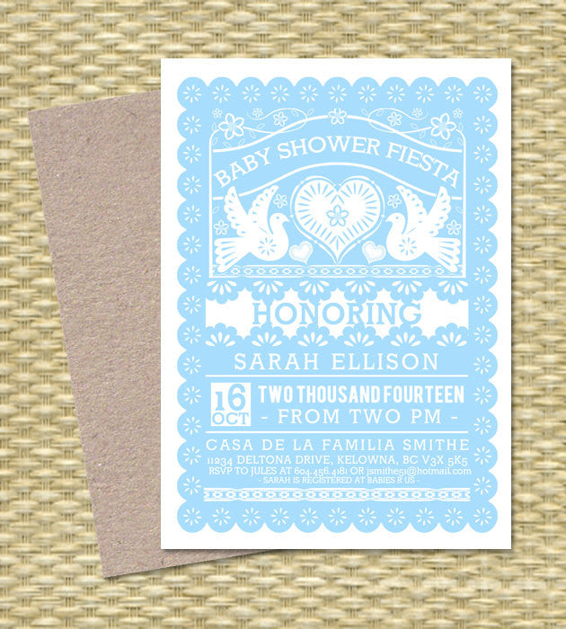 BABY SHOWER FIESTA Baby Girl Shower Invitation Gender Neutral Baby Boy Papel Picado Baby Sprinkle Fiesta Sip and See, Any Event, Any Colors
