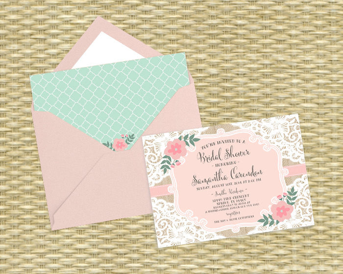 Bridal Shower Invitation Rustic Bridal Tea Bridal Brunch Burlap Lace Floral Blush Pink and Mint, ANY EVENT