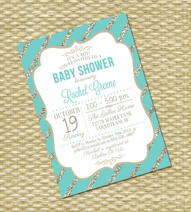Printable Baby Shower Invitation Baby Boy Gender Neutral Robin S Egg Blue Gold Glitter Any Event Any Color Scheme Kelly Typography