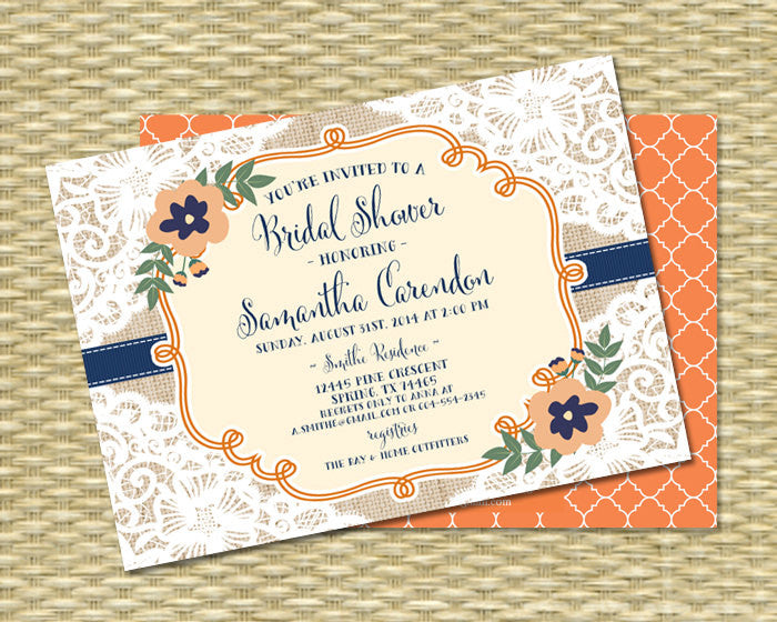 Bridal Shower Invitation - Fall Bridal Shower Invitation - Rustic Lace, Leaves and Pumpkins - Carendon Style2 - ANY EVENT - Any Color Scheme