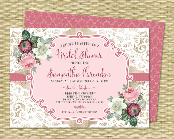 Lace Floral Bridal Shower Invitation Vintage Roses Burlap Lace Shabby Chic Bridal Brunch Bridal Tea Invitation Pink White ANY EVENT