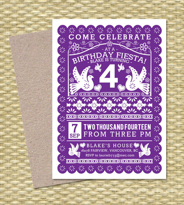 Birthday FIESTA Printable Birthday Invitation Papel Picado Mexican Fiesta Cinco de Mayo First Birthday, Any Event, ANY COLORS