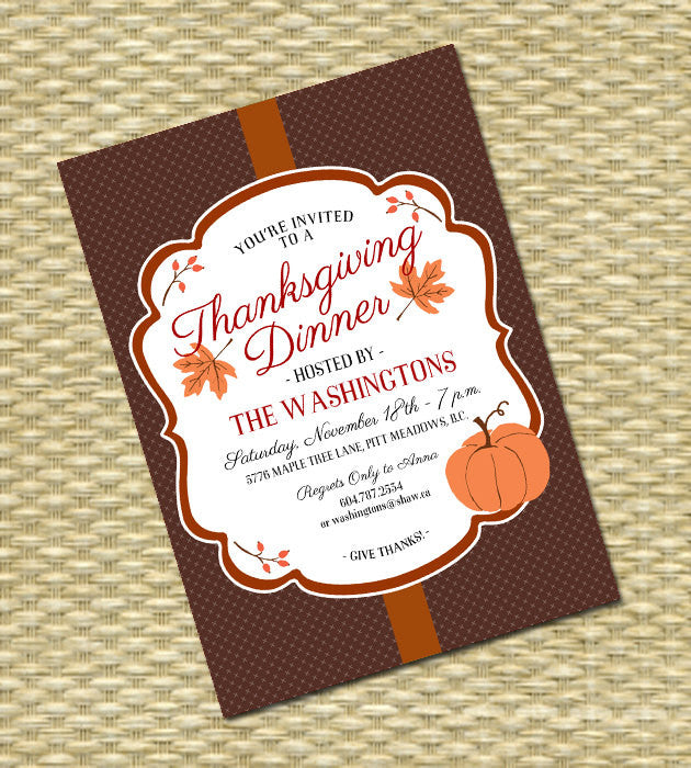 Thanksgiving Dinner Invitation Give Thanks Red Brown Orange Autumn Pumpkin Fall Leaves Thankful, ANY EVENT, Any Colors