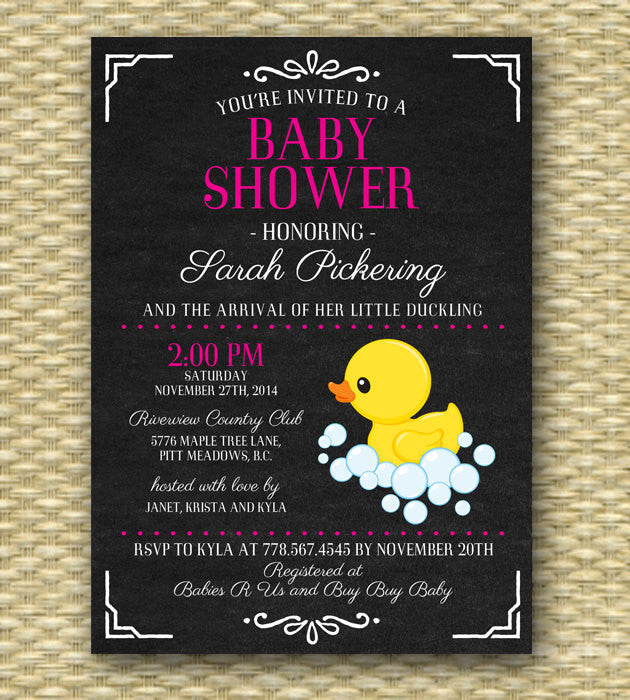 Printable Baby Shower Invitation - Chalkboard Ducky Baby Shower, Chalkboard, Baby Girl, Baby Boy, Gender Neutral - ANY COLOR - Any Event