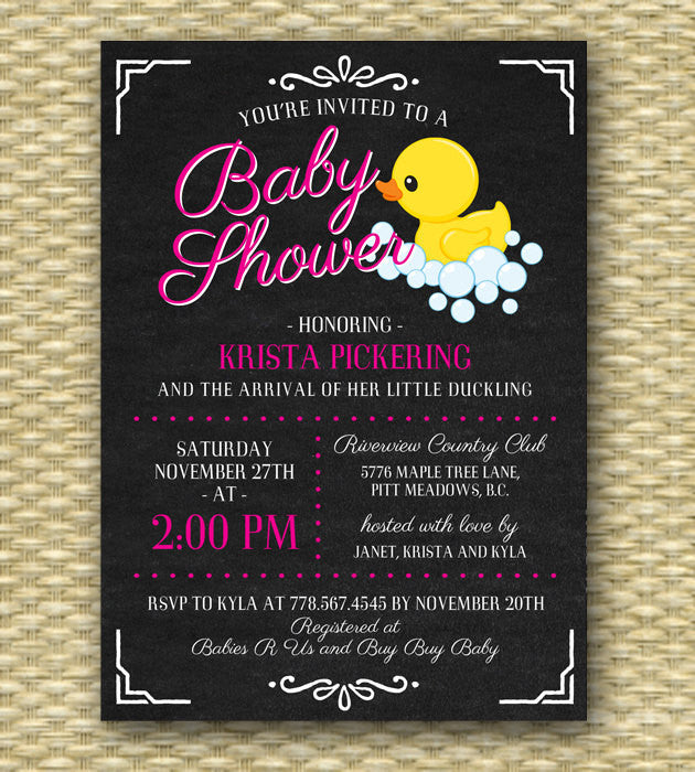 Printable Baby Shower Invitation - Chalkboard Ducky Baby Shower2, Chalkboard, Baby Girl, Baby Boy, Gender Neutral - ANY COLOR - Any Event
