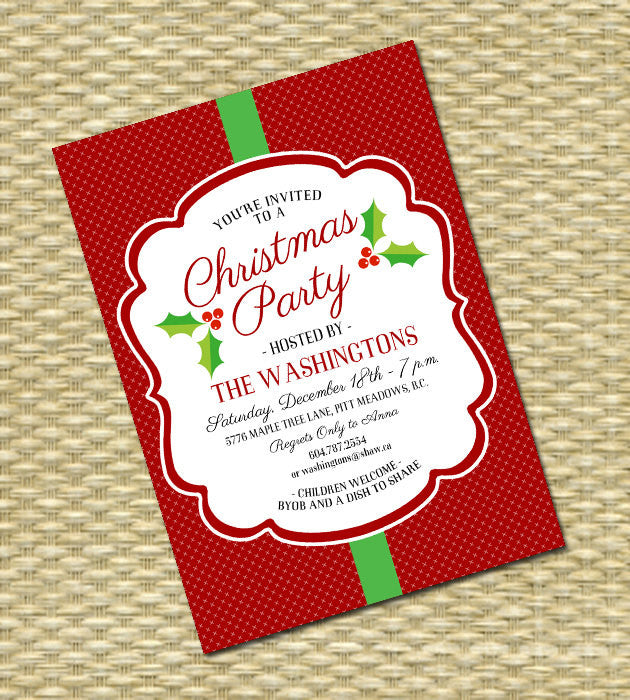 Holiday Party Invitation - Christmas Party Invitation - Any Color Scheme - ANY EVENT