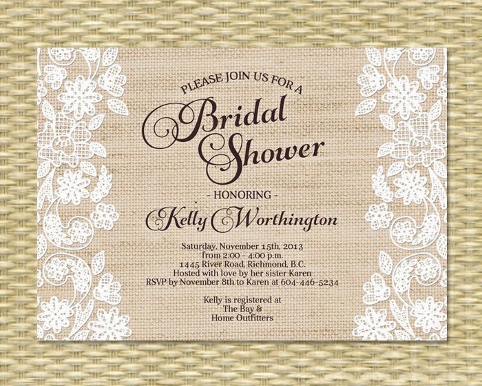 Bridal Shower Invitation, Baby Shower, Printable - Burlap Lace Applique Gio - ANY EVENT - Any Color Scheme