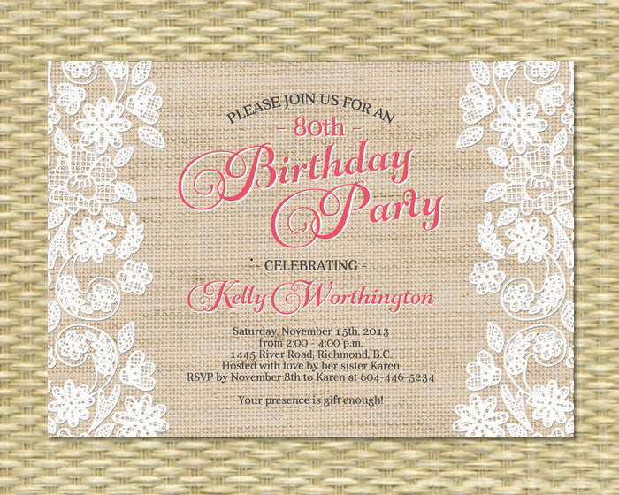 Rustic Burlap Lace Adult Birthday Invitation 30th 40th 50th 60th Surprise Milestone