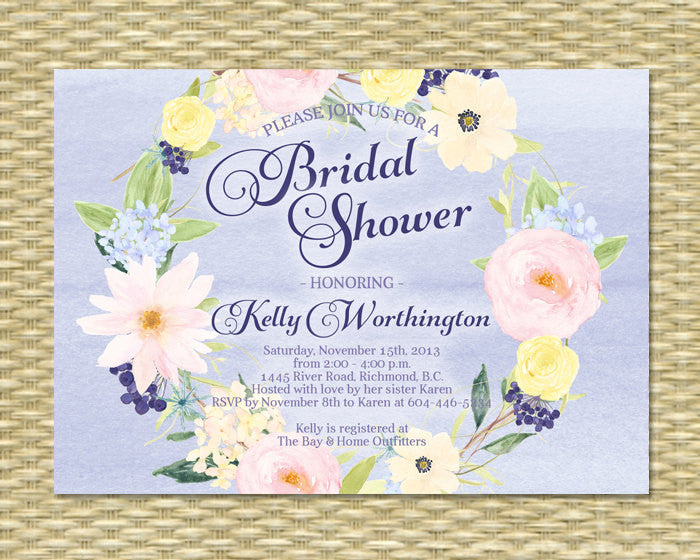 Bridal Shower Invitation - Watercolor Floral Gio3 - ANY EVENT - Any Color Scheme, Spring Baby Shower, Spring Wedding, Birthday Invitation