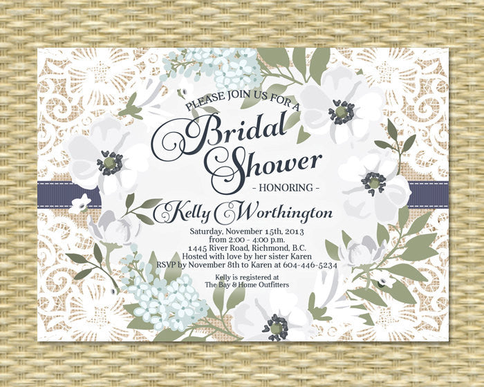 Winter Bridal Shower Invitation Winter Floral Invitation White Blue Anemones Bridal Tea Bridal Lunch Any Event