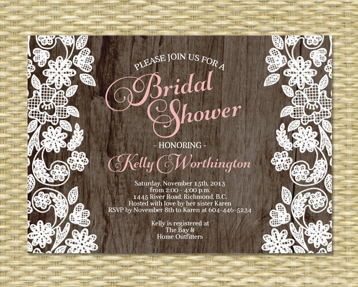 Bridal Shower Invitation - Rustic Wood Lace Applique Gio2 - ANY EVENT - Birthday Invitation, Baby Shower Invitation, Any Color Scheme
