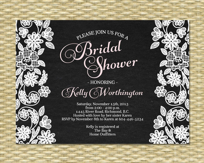 Rustic Chalkboard Bridal Shower Invitation Chalkboard Lace Pink and White Any Color Scheme ANY EVENT Adult Birthday Baby Shower Invite
