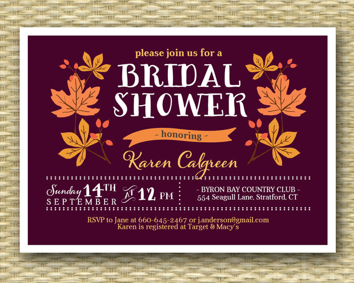 Bridal Shower Invitation Fall Leaves Burgundy Burnt Orange Typography Style Autumn