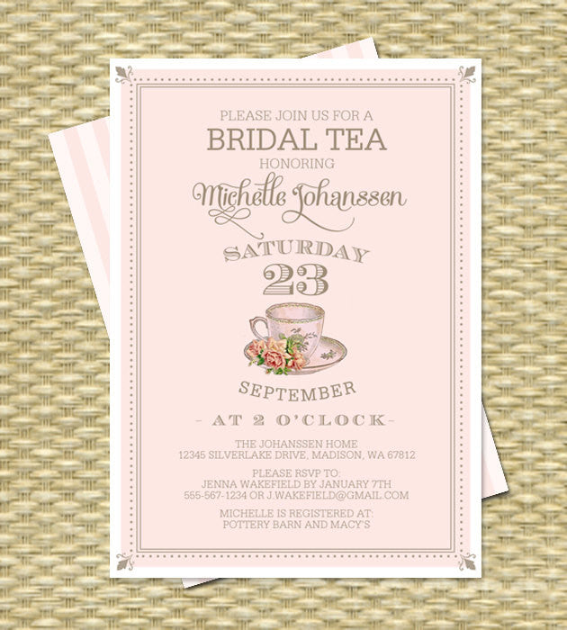 80th Birthday Tea Party Invitation Adult Milestone Vintage Teacup Blush Pink Gold