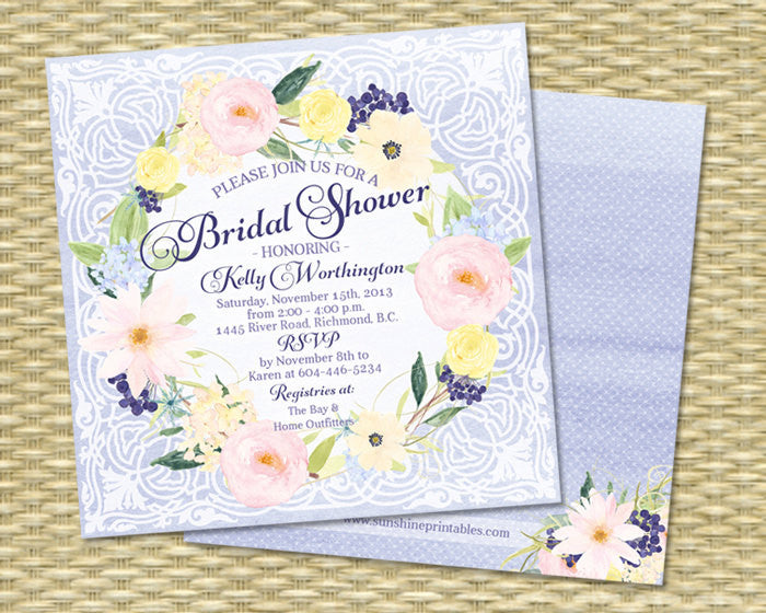 Floral Wreath Printable Bridal Shower Invitation Watercolor Flowers Any Event Bridal Tea Bridal Brunch Wedding Shower