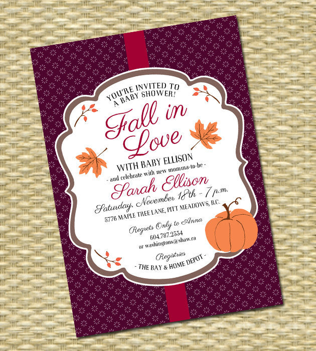 Fall in Love Bridal Shower Invitation Fall Bridal Shower Autumn Bridal Shower Burgundy Orange Pumpkins Leaves Bridal Tea Bridal Brunch