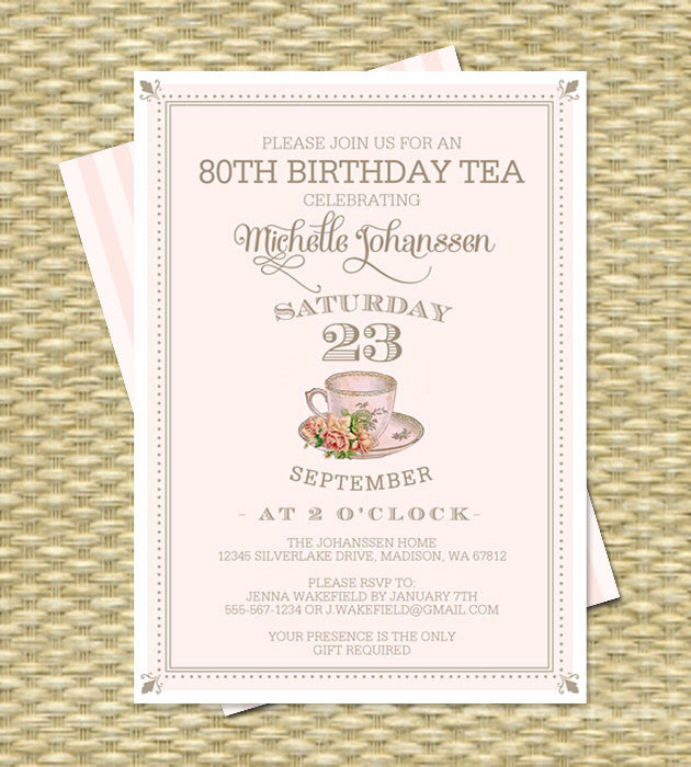 80th Birthday Tea Party Invitation Adult Milestone Birthday Invitation Birthday Tea Vintage Teacup Blush Pink Gold - Any Colors, ANY EVENT