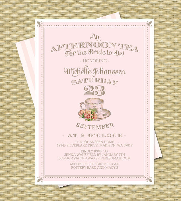 Vintage Bridal Tea Invitation Bridal Shower Invitation Bridal Tea Party Bridal Brunch Vintage Teacup Blush Pink Gold - Any Colors, ANY EVENT