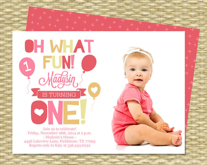 First Birthday Invitation - Oh What Fun, Turning One! - Printable - ANY COLOR SCHEME - Any Event - Photo