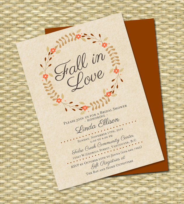 Fall in Love Bridal Shower Invitation - Fall Wreath - Fall, Autumn - Any Color Scheme - ANY EVENT