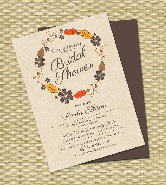 Bridal Shower Invitation Fall Bridal Shower Autumn Rustic Kraft Typography Leaves Wreath Fall in Love Fall Bridal Shower