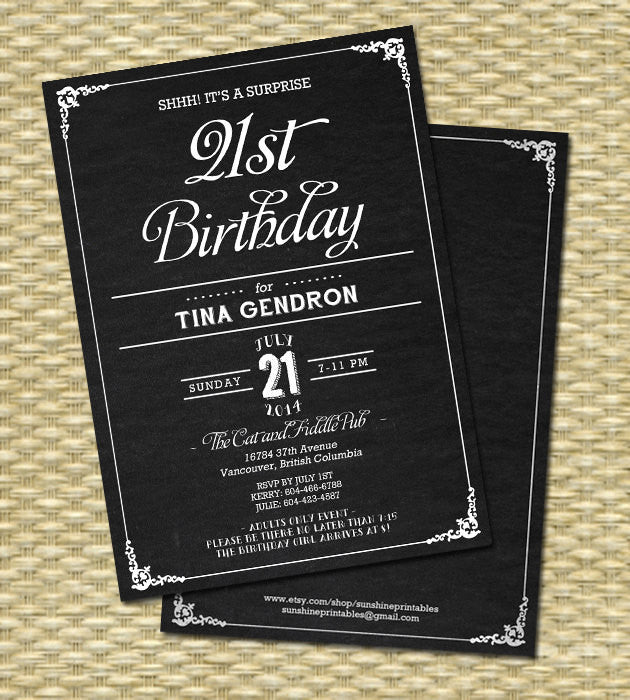 Chalkboard Rustic 40th Birthday Invitation
