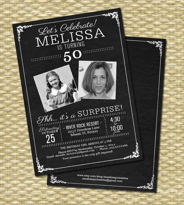 50th Birthday Invitation - Chalkboard Photo -  Milestone Birthday - Any Event - Any Colors, 21st, 30th, 40th, 50th, 60th, 70th, 80th,