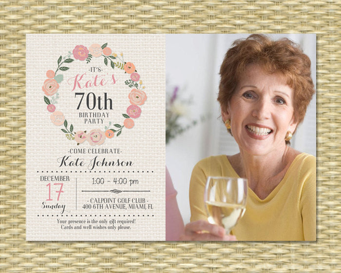 Birthday Invitation - Milestone Birthday - Any Event - Floral Circle Burlap Typography PHOTO