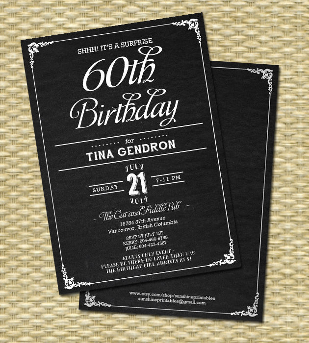 Chalkboard Rustic 40th Birthday Invitation -  Birthday, Milestone Birthday - Any Event - Any Color Scheme, 21st, 30th, 40th, 50th, 60th
