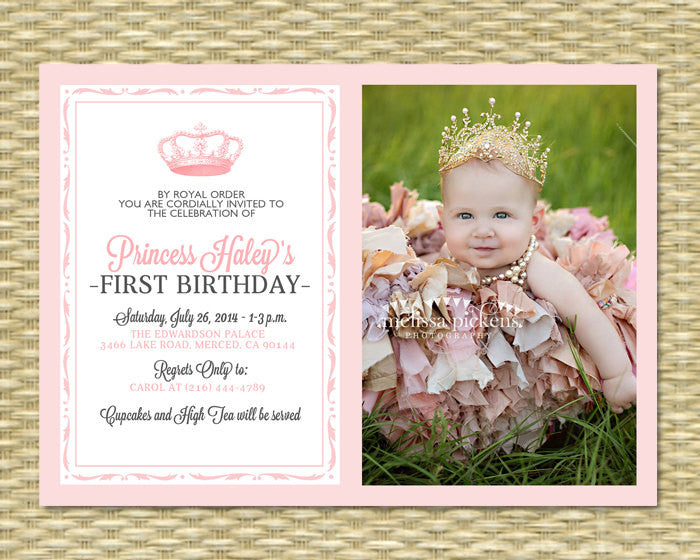 Princess first birthday invitation 2 royal baby girl shower princess first birthday invitation 2 royal baby girl shower printable her royal majesty any color scheme any event photo stopboris Image collections