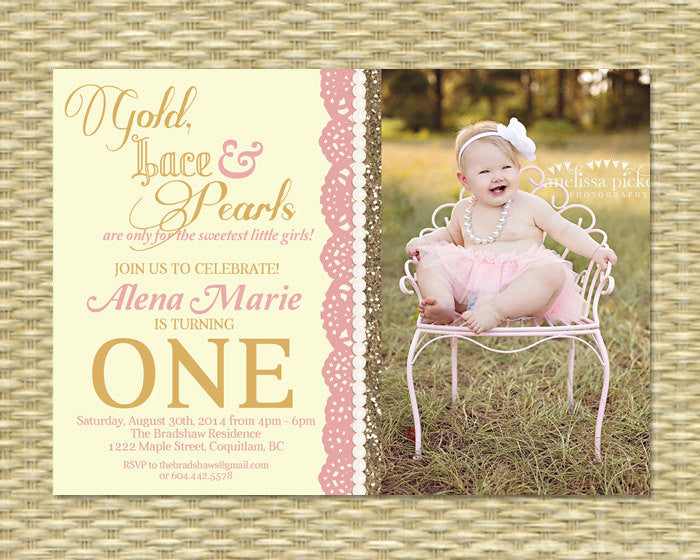 Gold Lace and Pearls First Birthday Invitation Girls 1st Birthday Gold Glitter Lace Pearls, ANY COLOR, Any Event