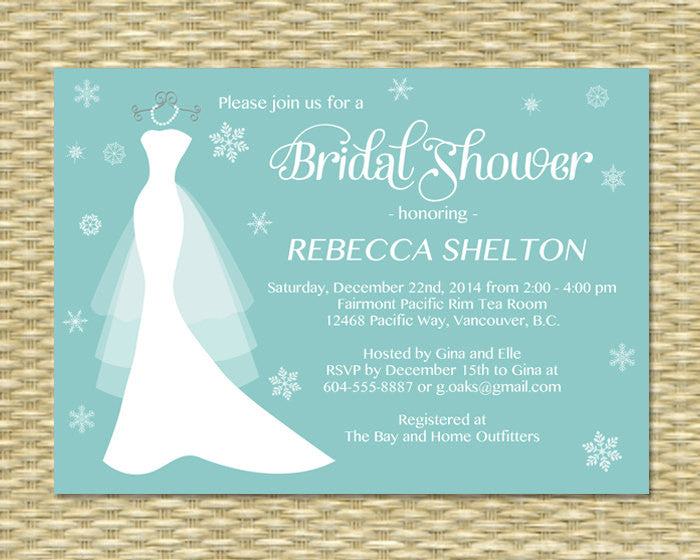 Winter Bridal Shower Invitation Wedding Dress on Hanger Holiday Bridal Shower, Printable or Printed, ANY COLOR SCHEME