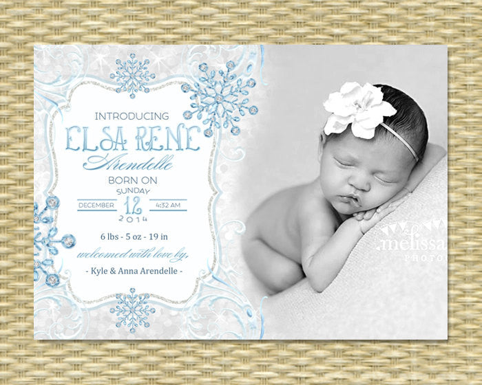 Birth Announcement Baby Announcement Winter Baby Announcement Snowflake Icy Glitter Winter Birth Announcement