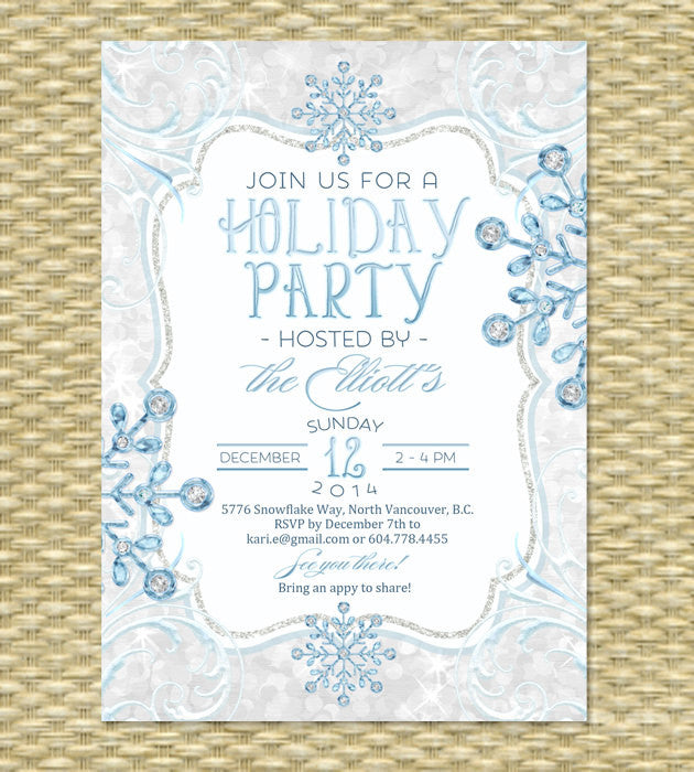 Printable Holiday Party Invitation, Christmas Party Invitation - Icy Glitter Diamond Snowflake Rene -  Baby It's Cold - ANY EVENT