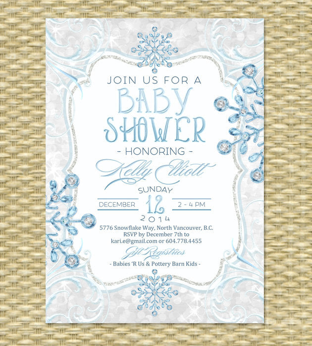 Printable Winter Baby Shower Invitation Holiday Baby Shower Ice Glitter Diamond Snowflakes Baby It's Cold Baby Shower ANY EVENT