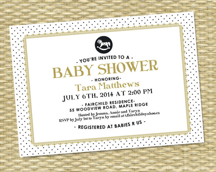 Printable Gender Neutral Baby Shower Invitation - Baby Shower, Tara Style - Gold, White, Black - ANY COLORS - Rocking Horse
