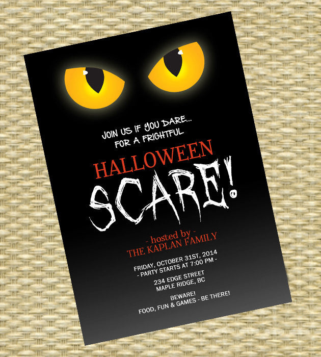 Halloween Party Invitation Birthday Invitation Scary Eyes Boos and Brews Halloween Party Invitations Printable or Printed