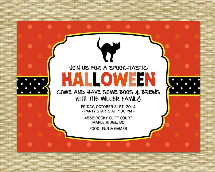 Halloween Party Invitation, Printable, Custom, Halloween Party, Spooky Black Cat