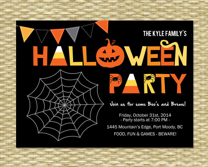 Halloween Party Invitation, Printable, Custom, Halloween Party, Paper Cutouts