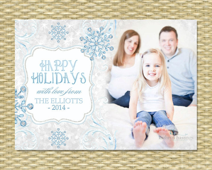 Christmas Photo Card - Icy Glitter Diamond Snowflake Rene - Custom Holiday Photo Card, Printable or Printed