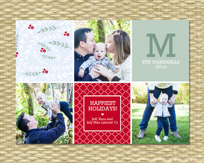 Christmas Photo Card - Whimsical Foliage Blocks3 Merry Christmas - Custom Holiday Photo Card, Printable or Printed