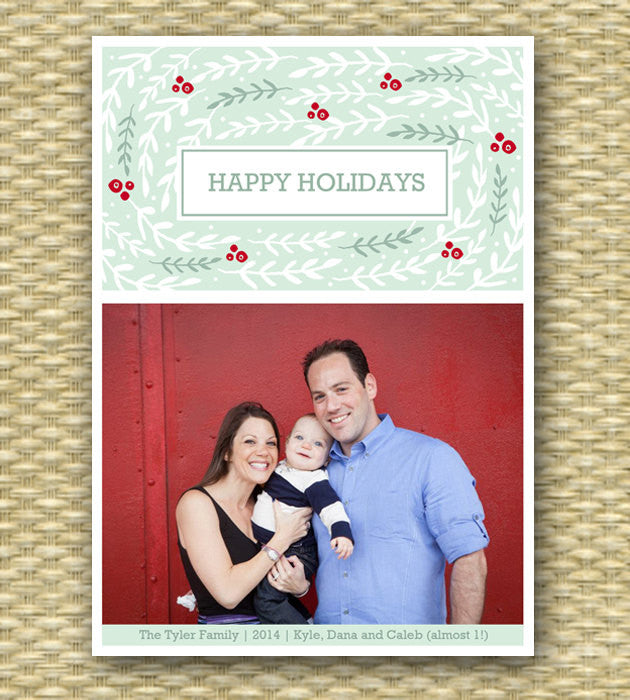 Christmas Photo CardPrintable Christmas Card, Custom Christmas Card - Whimsical Winter Foliage3